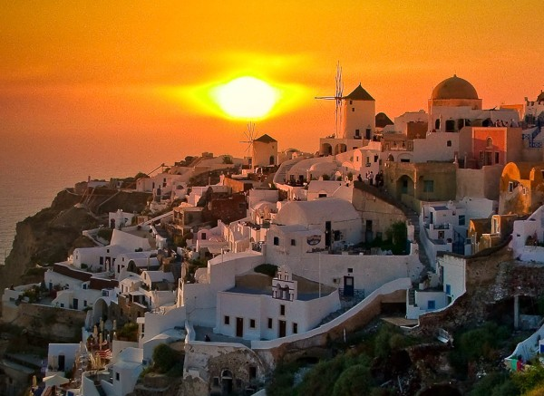 oia castle sunset