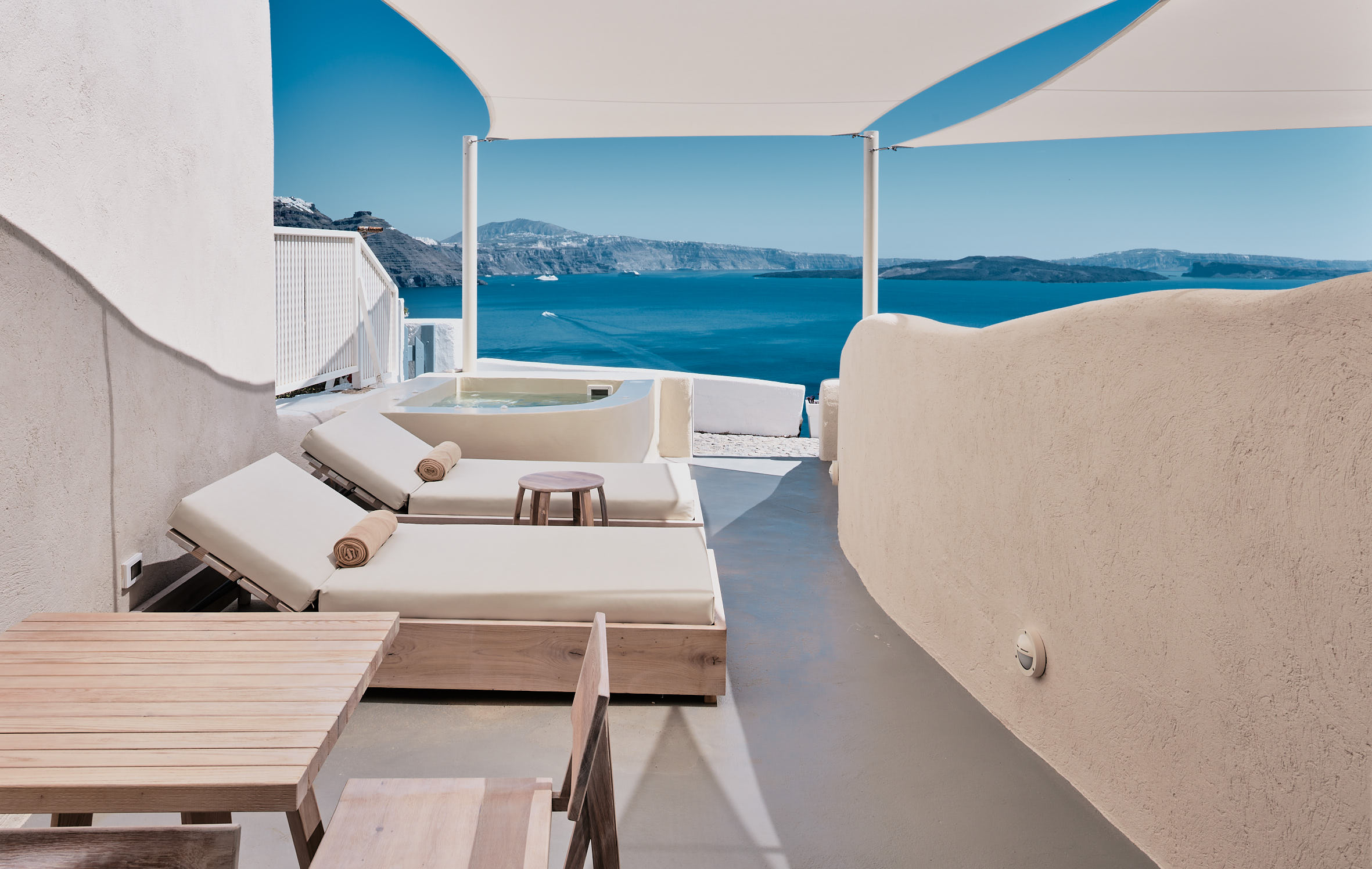 Private terrace with pool overlooking the Aegean Sea