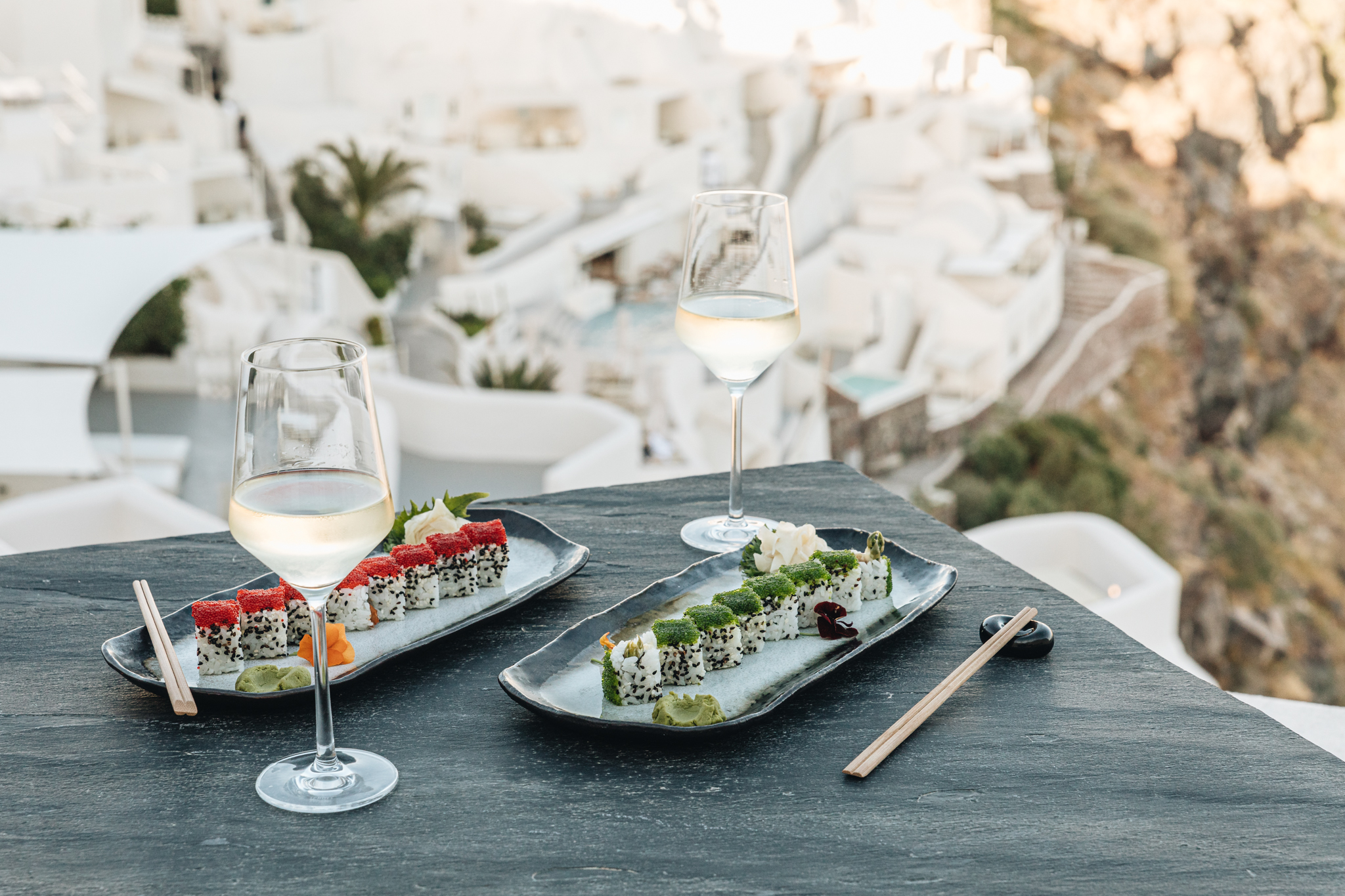 Mystique's fine dining options with views over Santorini's volcano