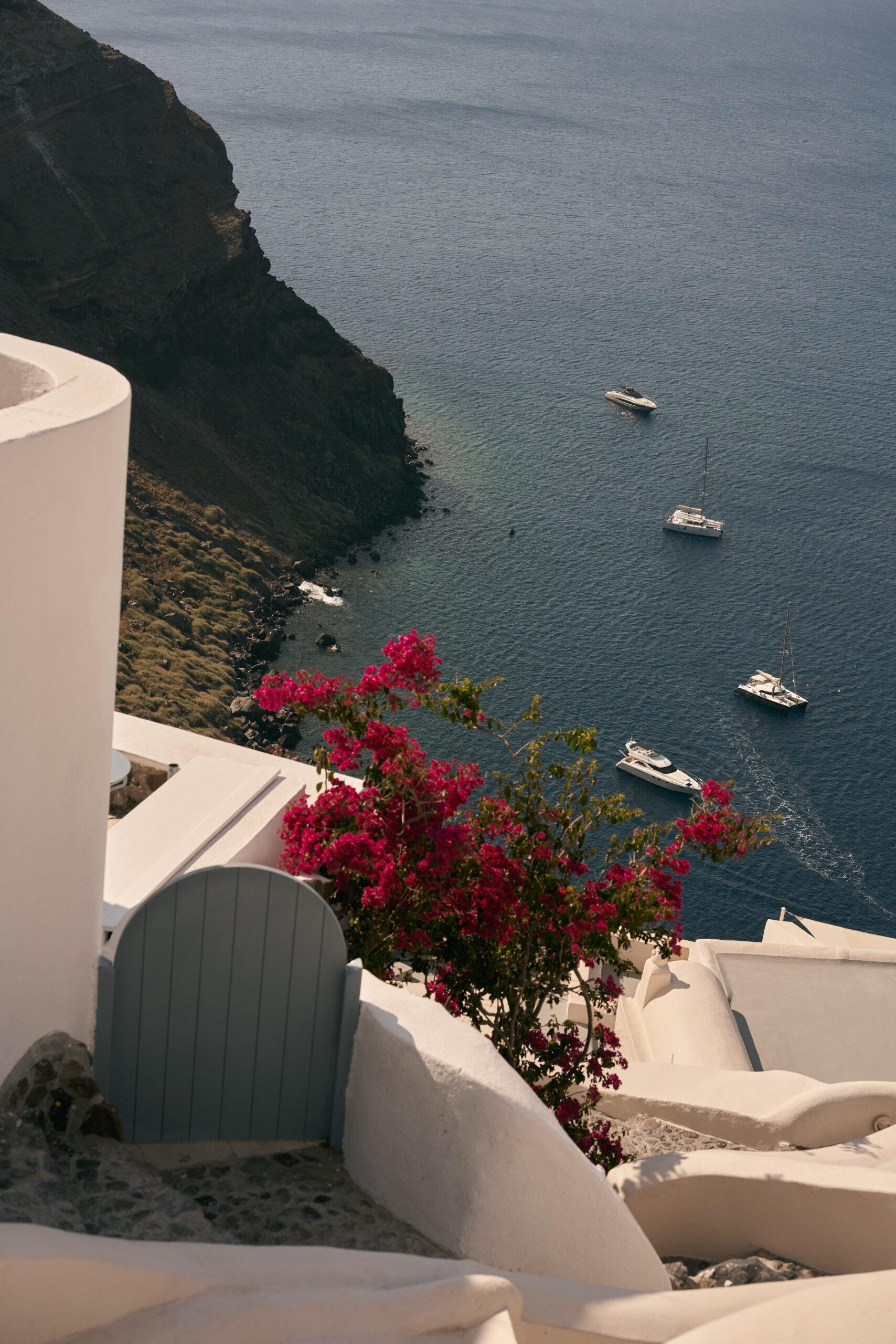 Flowers in the public spaces of Mystique hotel in Santorini