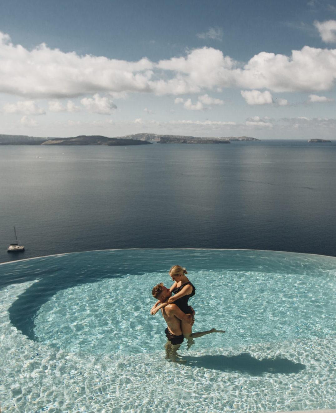 Romantic couple in private Pool