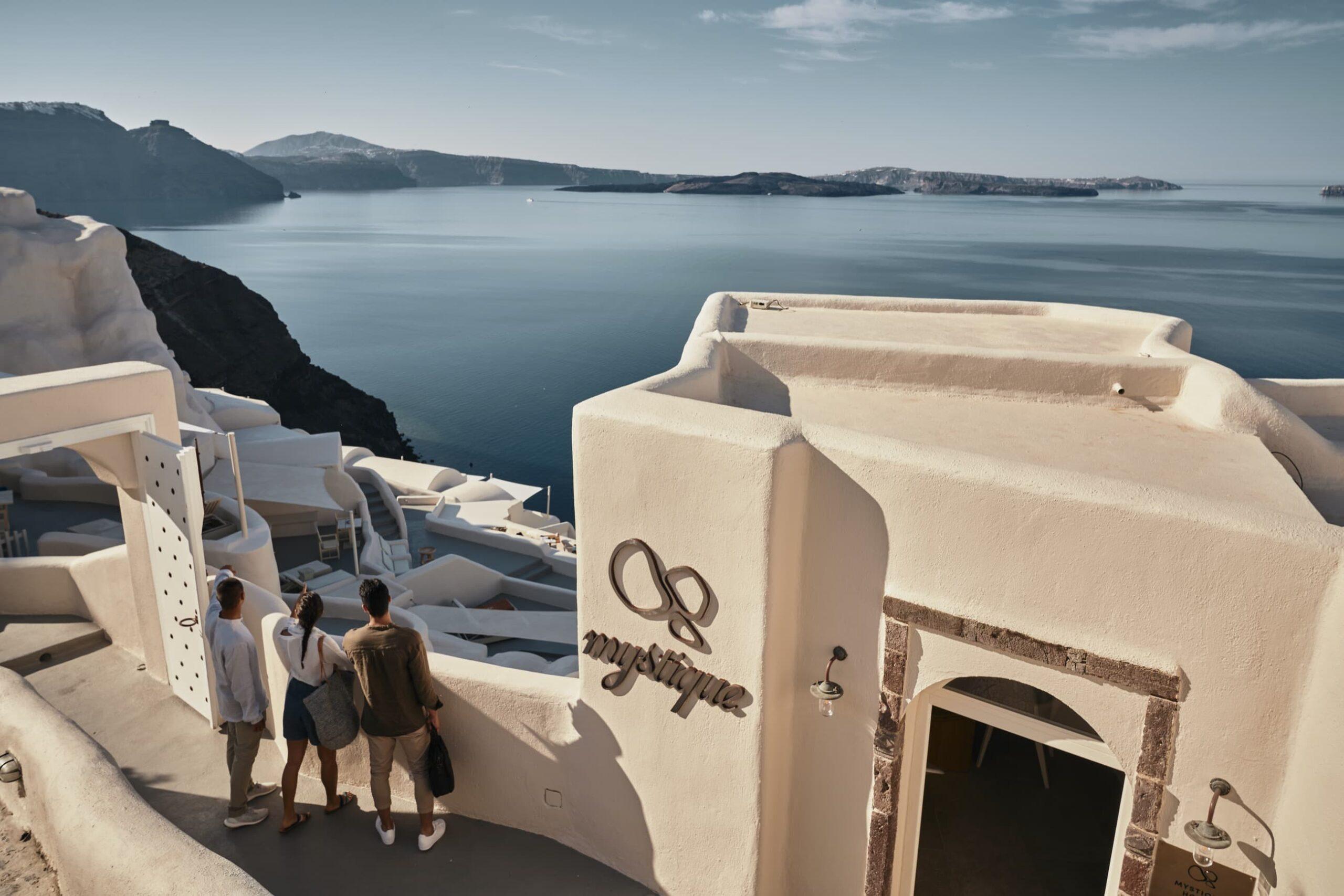 Entrance of Mystique Hotel in Santorini