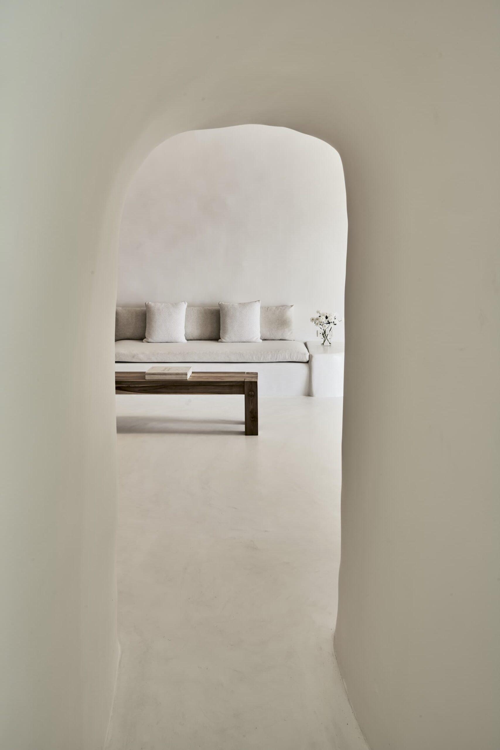 Interior of cave-style suite of Mystique Hotel in Santorini