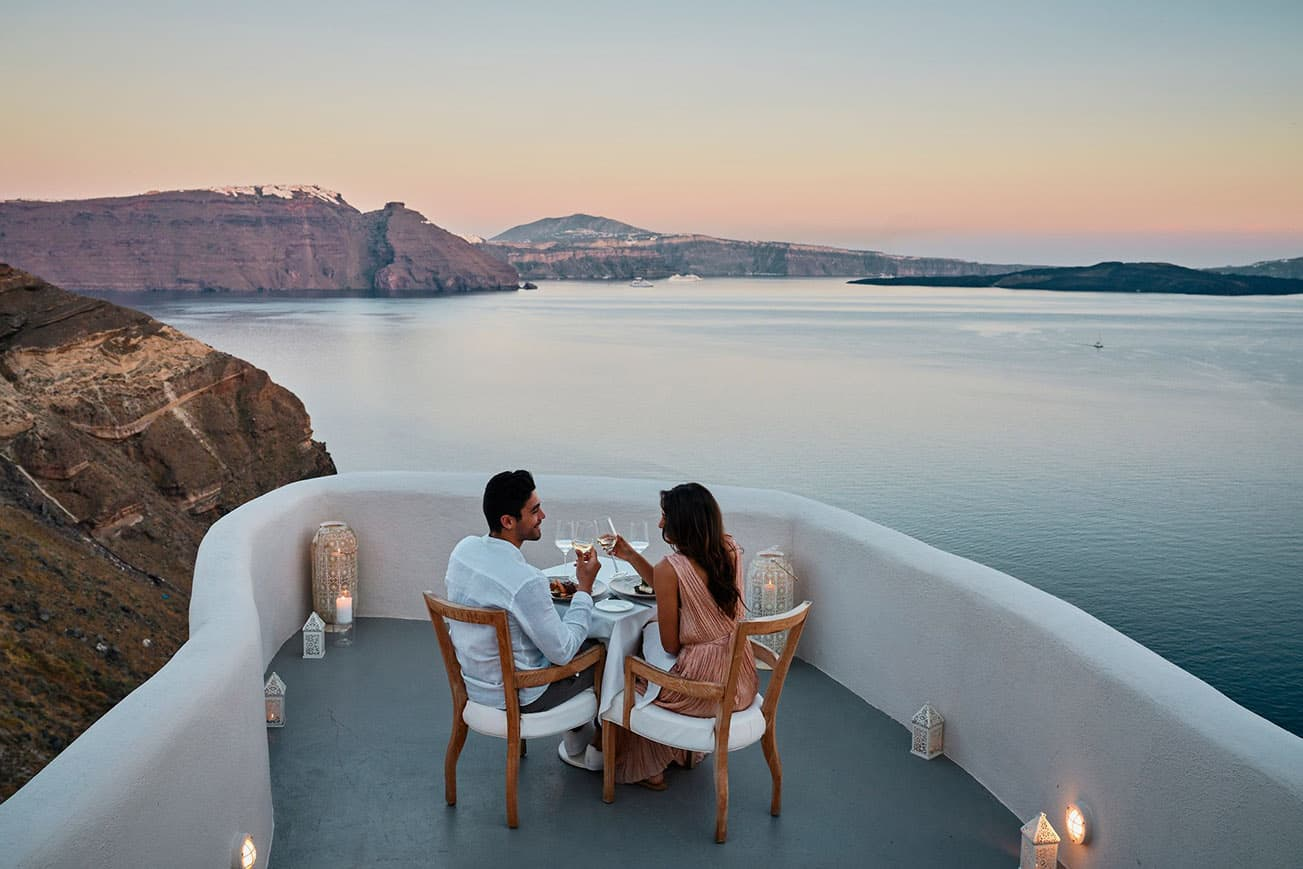 Couple's Private dinner with stunning sea view over the caldera