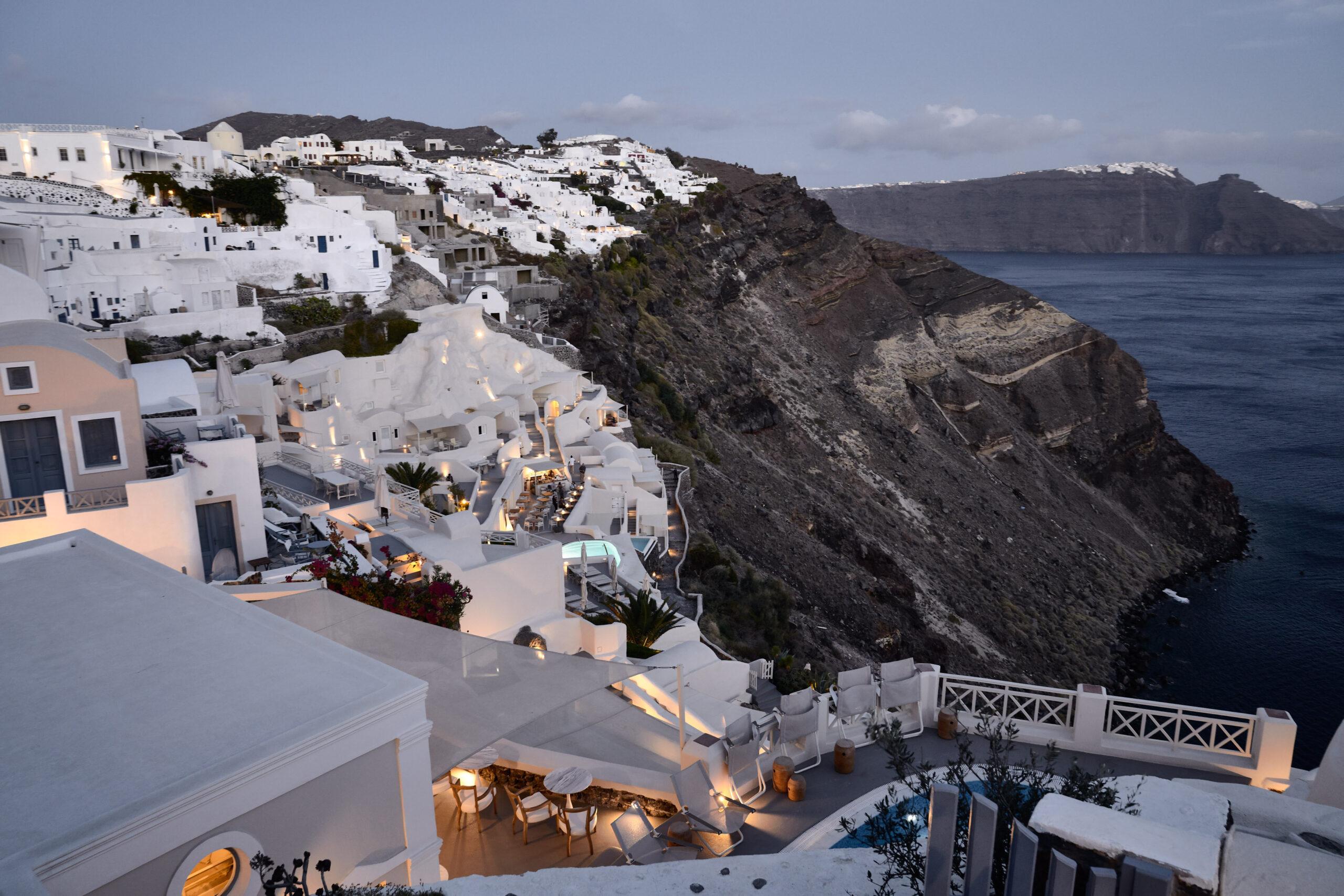 Night view of Mystique Hotel in Santorini